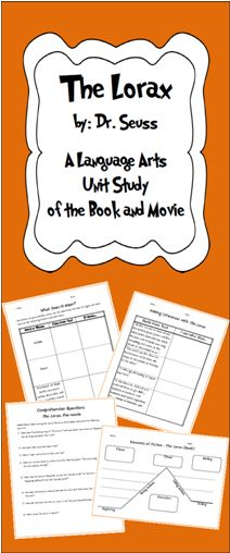 FUN Review of various Common Core Language Arts Standards using The Lorax by Dr Seuss (Book and Movie)