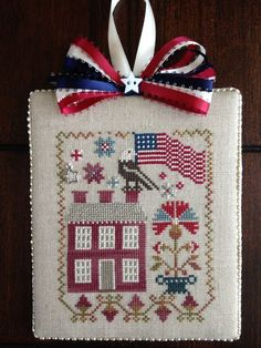 Patriotic cross stitch ornament In Full Glory by Black Bird Designs.: