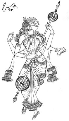 Religions Coloring Pages, Goddess Saraswati Dancing Posture Coloring Page, Religions Coloring Book- cool embroidery patterns Mural Painting, Mural Art, Fabric Painting, Woman Painting, Pencil Art Drawings, Art Drawings Sketches, Madhubani Art, Indian Folk Art, Indian Art Paintings