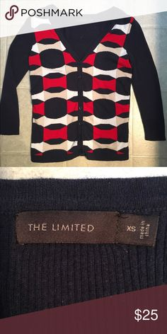 The Limited: Quarter sleeve cardigan Worn only a couple times!!!! Cute little navy and red cardigan. Could be worn for several occasions! The Limited Sweaters Cardigans