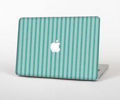 "The Teal Vintage Stripe Pattern v7 Skin Set for the Apple MacBook Pro 15"" with Retina Display from Design Skinz"