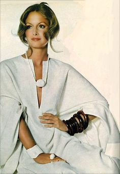 Karen Graham in Halston Caftan, photographed by Irving Penn for Vogue, 1971