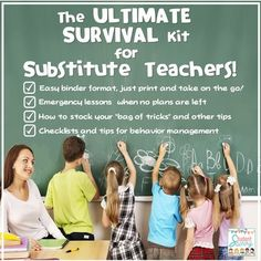 This ULTIMATE SURVIVAL Kit has everything you need and much more to not only survive, but THRIVE and have fun while substitute teaching!This product is provided in a Binder format where you can just print and use on the go for your subbing needs! There are 120 pages of activities, tips, checklists, resources, themed notes for the teacher and more!