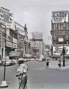 "Time Square, looking north, up Broadway, 1951, NYC. If you look closely to the left you can see the advertisement for Streetcar Named Desire ""Coming Soon"""