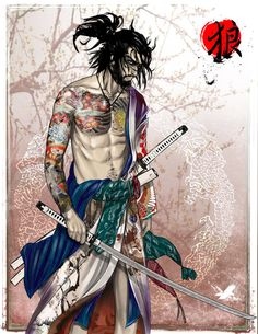 """ A Ronin turned Yakuza""- Okami by ~thedarkestseason on deviantART Ronin Samurai, Samurai Warrior, Character Concept, Character Art, Character Design, Art Asiatique, Samurai Tattoo, Art Anime, Wow Art"