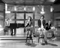 Photo of BEE GEES and Maurice GIBB and Robin GIBB and Barry GIBB and Colin PETERSEN, Group performing on tv show L-R Maurice, Robin and Barry Gibb with Colin Petersen