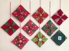 Fabric Ideas - Kevin MacLeod made a great video showing how to make origami folded fabric ornaments. Thanks to his video I've been having a blast making Christmas ornaments! Fabric Christmas Decorations, Origami Christmas Ornament, Folded Fabric Ornaments, Origami Ornaments, Quilted Christmas Ornaments, Noel Christmas, Handmade Christmas, Christmas Music, Christmas Quilting