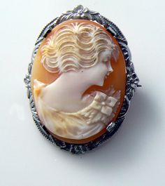 Vintage silver tone carved shell cameo brooch by 242VintageLane, $42.00