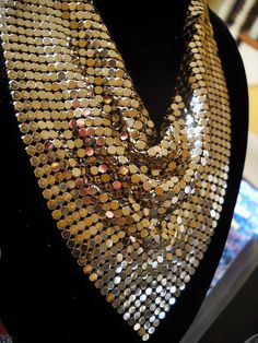 Free Shipping Disco Diva gold mesh bandana necklace by triolette