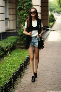 denim shorts with bandeau top and tee