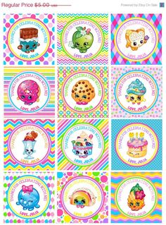 ON SALE DIY Personalized Shopkins Toy Birthday Favor Hang Tags Party Goody Gift Bags Printable Download Decoration Rainbow kids Fruit Food G by susanefird on Etsy https://www.etsy.com/listing/241260810/on-sale-diy-personalized-shopkins-toy