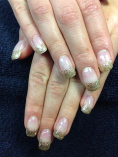 Katie's nails. Golden gel nail art.