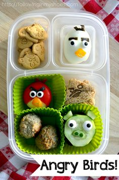 @Marla Meridith Angry Birds #bento kid-food #iheartlunch. wonder if my kid would eat ahard boiled egg if it looked like this?