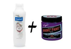 Mix inexpensive white conditioner with Manic Panic hairdye for a hydrating, temporary dye that washes out in 1-5 shampoos!