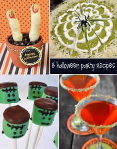 8 halloween party recipes (Frankensteins in front of grave stone