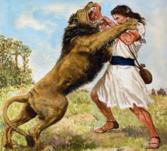 "David the Shepherd King 1 Samuel 17:34 David then said to Saul: ""Your servant became a shepherd of his father's flock, and a lion came, also a bear, and each carried off a sheep from the flock. 35 I went out after it and struck it down and rescued it from its mouth. When it rose up against me, I grabbed it by its fur and struck it down and put it to death"