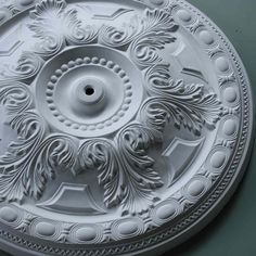 Large Acanthus Leaf Ceiling Rose A lot of rose for not a lot of money. Plaster Ceiling Rose, China Porcelain, Porcelain Tiles, Painted Porcelain, Egg Designs, China Sets, Raised Panel, Ceiling Height, Cornice