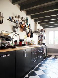 cuisine damier noir et blanc