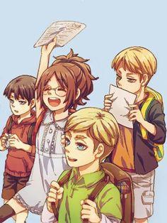 Levi, Hanji, Erwin, and Hannes as kids