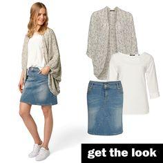 Denim-Rock, Bluse und Oversize-Cardigan von zero #zerofashion #getthelook #outfit #ootd