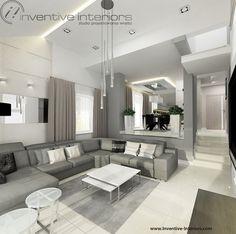 Projekt salonu Inventive Interiors - beże i szarości w nastrojowym salonie