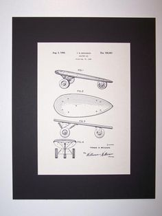 Brickson Coaster Car 1948 Patent Drawing Toy Game Skate Board