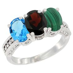 14K White Gold Natural Swiss Blue Topaz, Garnet and Malachite Ring 3-Stone 7x5 mm Oval Diamond Accent, sizes 5 - 10 -- See this great image  : Jewelry Ring Bands