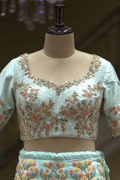 Aqua Blue Resham Embroidered Raw Silk Bridal Lehenga-VL3846