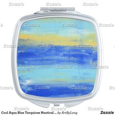 A Colorful compact mirror from Zazzle! Compact Mirror, Makeup Tools, Aqua Blue, Nautical, Abstract Art, Cool Stuff, Beach, Color, Design