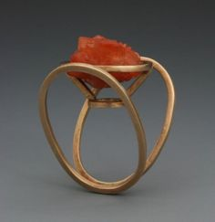 Ring | Leia Zumbro. Gold with a quartz crystal | Found on crafthaus.ning.com