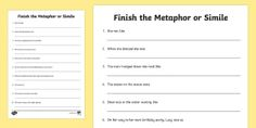 A great activity / activities to get your children's imaginations running by inventing new kinds of similies with this worksheet. Pig In Mud, Map Activities, Simile, Phonics, Inventions, Worksheets, High School, Teaching, Math