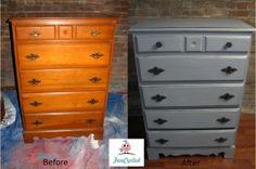 Grey Dresser with Black Glazing Glazing Furniture, Furniture Projects, Furniture Making, Gray Painted Furniture, Grey Furniture, Dresser Refinish, Diy Dressers, Dresser Ideas, Grey Dresser