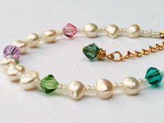 Freshwater Pearl & Swarovski Crystal Bracelet Multi by AliandMilo, $18.00