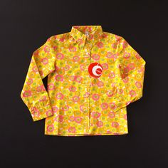 FRENCH VINTAGE 70'S BRIGHT COLORED FLORAL PRINT SHIRT - NEW OLD STOCK- www.KLEINFORMAAT.com