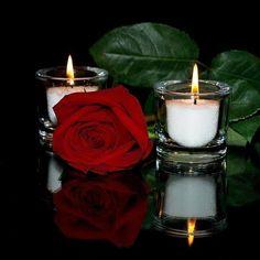 Cvece i Romantika Candle Lamp, Candle Lanterns, Pillar Candles, Good Night Image, Good Morning Good Night, Night Wishes, Single Rose, Rose Cottage, Be My Valentine