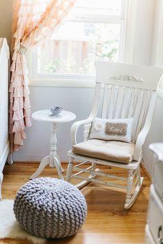 curtains nursery, rocking chair nursery, pouf, shabby chic nurseries, nursery rocking chair, antiqu rocker, rock chair, kid crafts, rocking chairs nursery