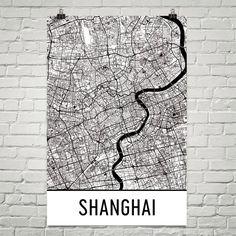 Shanghai Map Art Print, Shanghai China Art Poster, Shanghai Wall Art, Shanghai Gift, Map of Shanghai, Shanghai Print, Birthday, Modern, Art