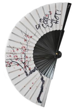 ZEN designer hand fan | Japanese style with cherry blossom print and Stay COOL Look HOT text | made from cherry wood and cotton fabric