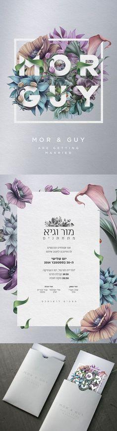 Einladung // Blumen / Grau / feminin / verspielt