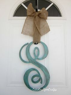 Single Letter Monogram Wooden Door Decor  18 by CarolinaMoonCrafts
