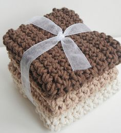 Ombre.  Crochet Dishcloths Washcloths.  Brown, Tan, Off White.  For Kitchen, Bathroom, or Baby!