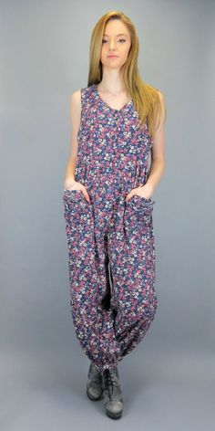 Vintage 80s Laura Ashley Romper Floral Print Full Length Playsuit Jumpsuit Soft Pinwale Corduroy One Piece Pants Slouch Fit Onesie Overall Jumper by BlueFridayVintage on Etsy