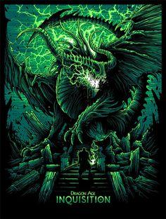 Cool Art: Geek-Art & French Paper Art Club presents 'Dragon Age Inquisition' Art Show Dragon Age Inquisition, Fantasy Dragon, Fantasy Art, Dragon Art, Dan Mumford, Grey Warden, Dragon Age Games, Arte Horror, Geek Art