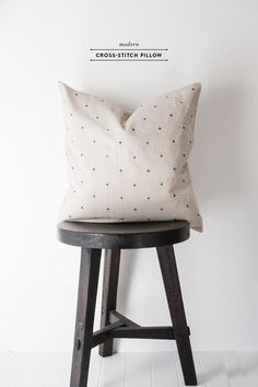 Modern Cross Stitched Pillow - Earnest Home co.