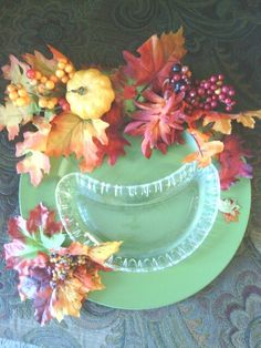 Fall festive platter with dish for treat of choice