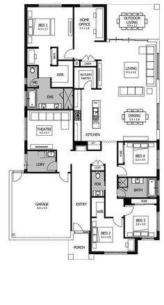 House Layout Plans, Dream House Plans, House Layouts, House Floor Plans, Boutique Homes, Garden Living, House Blueprints, Sims House, Open Plan Living