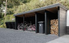 Op maat gemaakte opslag voor onder andere fietsen, kliko's en openhaardhout. #custommade #Quality #Gardendesign #MartinVeltkampTuinen