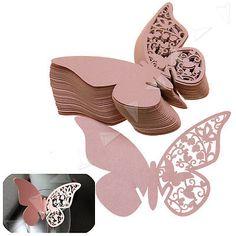 50tlg Hochzeit Papier Schmetterling Platzkarte Tischkarten Namenskarte Rosa DIY