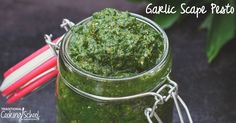 Scapes are the tall stems and unopened flower buds of certain hard-neck varieties of garlic, which should be snipped before the flowerheads mature. Then of course, eat the scapes! My favorite way is this pesto, which accompanies pasta, chicken, salmon, potato salad, and burgers beautifully.