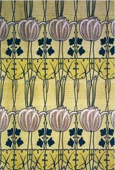 A Voysey, a leading Art & Craft Movement designer & architect influenced by the Art Nouveau Movement. Textile Patterns, Textile Prints, Textile Design, Fabric Design, Pattern Design, Art And Craft Design, Design Crafts, Design Art, Art Nouveau Pattern